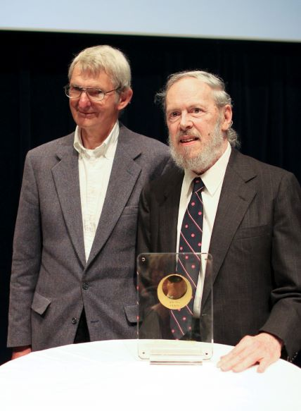 Dennis Ritchie with Doug McIlroy (left) in May 2011